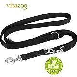 VITAZOO guinzaglio per cani in nero grafite, compatto e regolabile su misure diverse (1,4m – 2,1 m) | guinzaglio premium, guinzaglio a doppia fettuccia, intrecciato