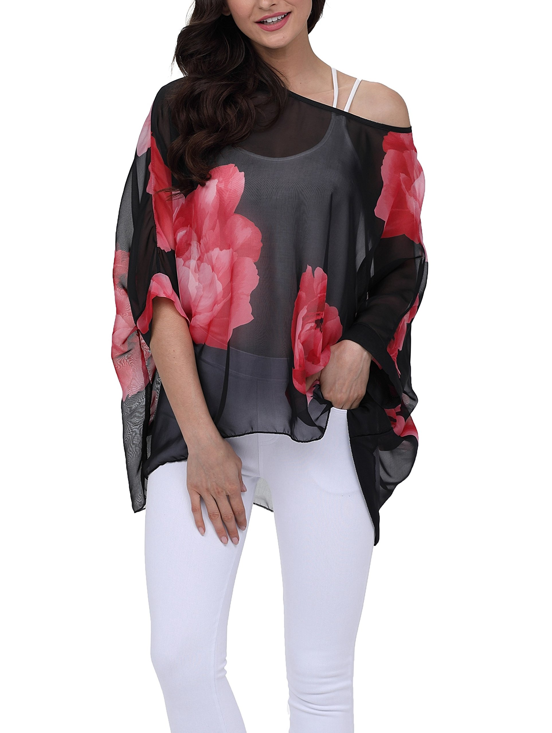 Vanbuy Women Summer Floral Printed Batwing Sleeve Top Chiffon Poncho Casual Loose Blouse Z91-4283