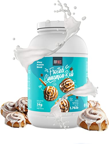 FitVibes Whey Protein Powder Weight Loss, Bodybuilding and Keto Friendly. Amazing Taste with Less Than 1 g of Carbs. Low Calorie Shake for Men and Women. 25 Servings, Cinnamon Roll