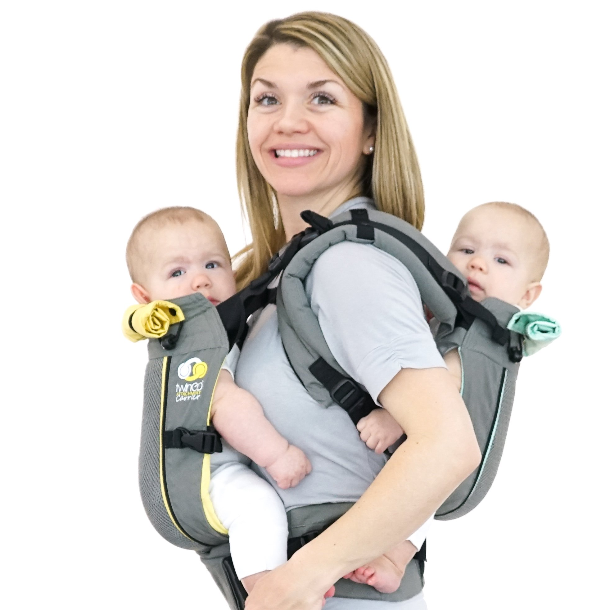 TwinGo Carrier - Air Model - Cool Grey - Great for All Seasons - Breathable Mesh - Fully Adjustable Tandem or 2 Single Baby Carrier for Men, Woman, Twins and Babies 10-45 lbs