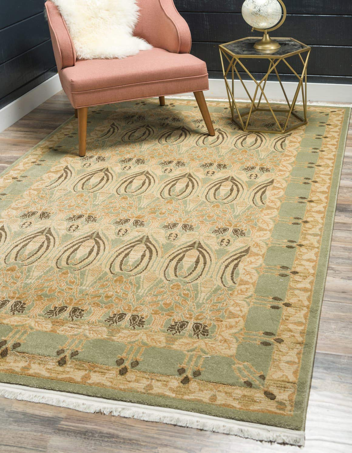 Unique Loom Edinburgh Collection Oriental Traditional French Country Light Green Area Rug 3 3 x 5 3