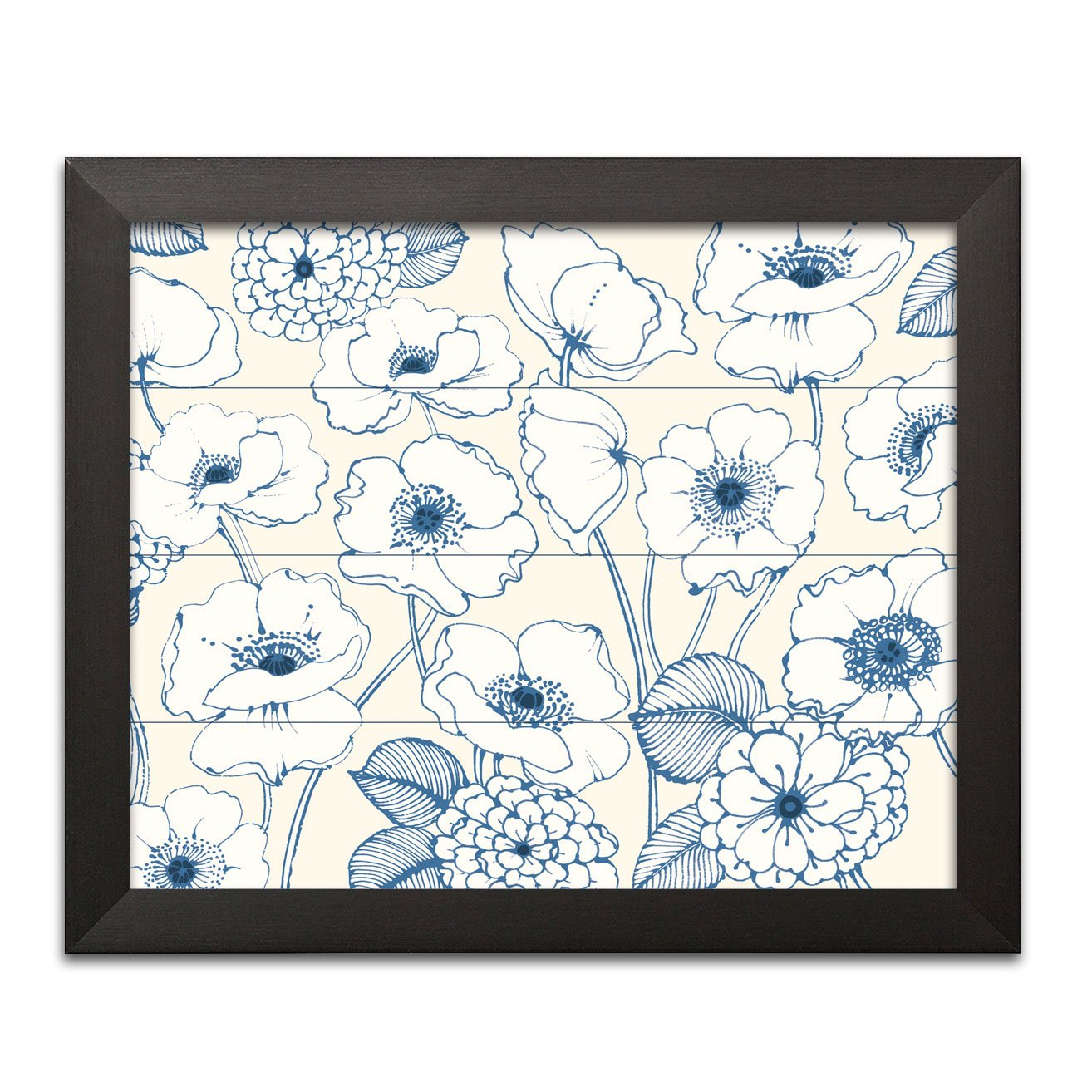 Gango Home Decor Shabby-Chic Pen and Ink Flowers I by Wild Apple Portfolio (Ready to Hang); One 16x12in Black Framed Print