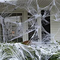 Halloween Spider Web Decorations, 1000 sqft Stretchy Large Fake Spiderwebs with 60 Extra Fake Spiders for Outdoor…