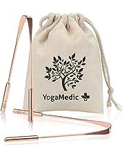 YogaMedic Tongue Scraper [2X] 100% Copper, Naturally Anti-Microbial to Fight Bad Breath - Includes a Cotton Bag