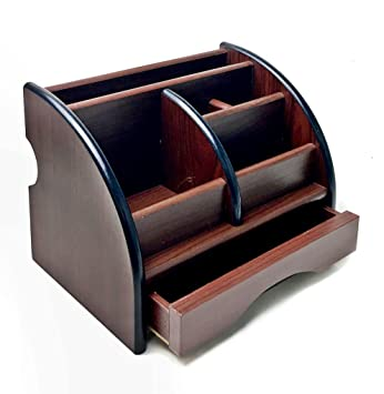 Wooden Desk Organizer 6 Compartment Office Supply Caddy With Drawer Pencil  Holder, Reading Glass.