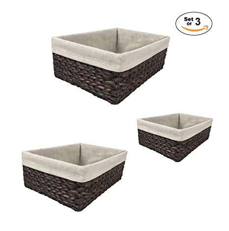 Decorative Storage Baskets 3 Piece Nesting Basket Set Woven With Liners,  Organization For Shelves,