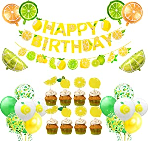 Lemon Party Decorations Lemonade Theme Party Supplies, Happy Birthday Banner, Lemonade Cake Topper, Foil and Latex Balloons for Summer Lemon Theme Baby Shower and Birthday Party