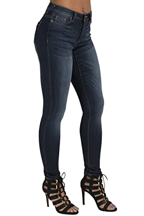 a4d020adbef13 Poetic Justice Women s Curvy Fit Stretch Denim Medium Whiskering Blasted  Skinny Jeans Size 26 x 32Length
