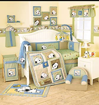 44c9b484ae14 Amazon.com   Peanuts PEEK A BOO Baby SNOOPY Nursery Crib Set   Baby