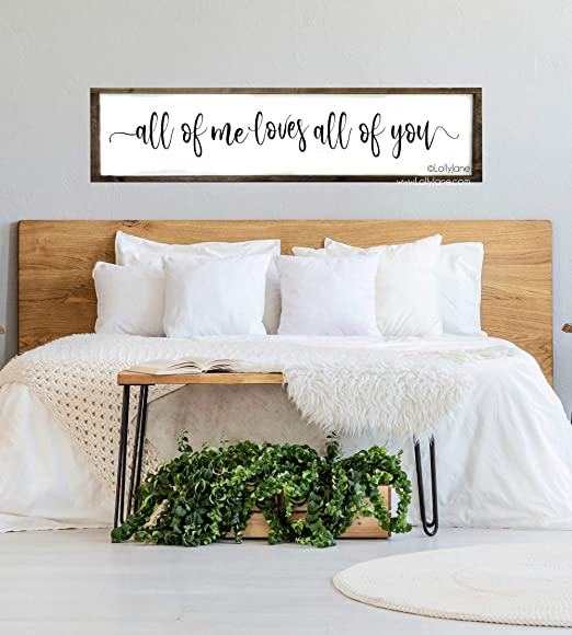 Dason All Of Me Loves All Of You Sign Master Bedroom Sign Bedroom Wall Art Rustic Sign Wood Sign Home Decor Wood Framed Signs Amazon Ca Home Kitchen