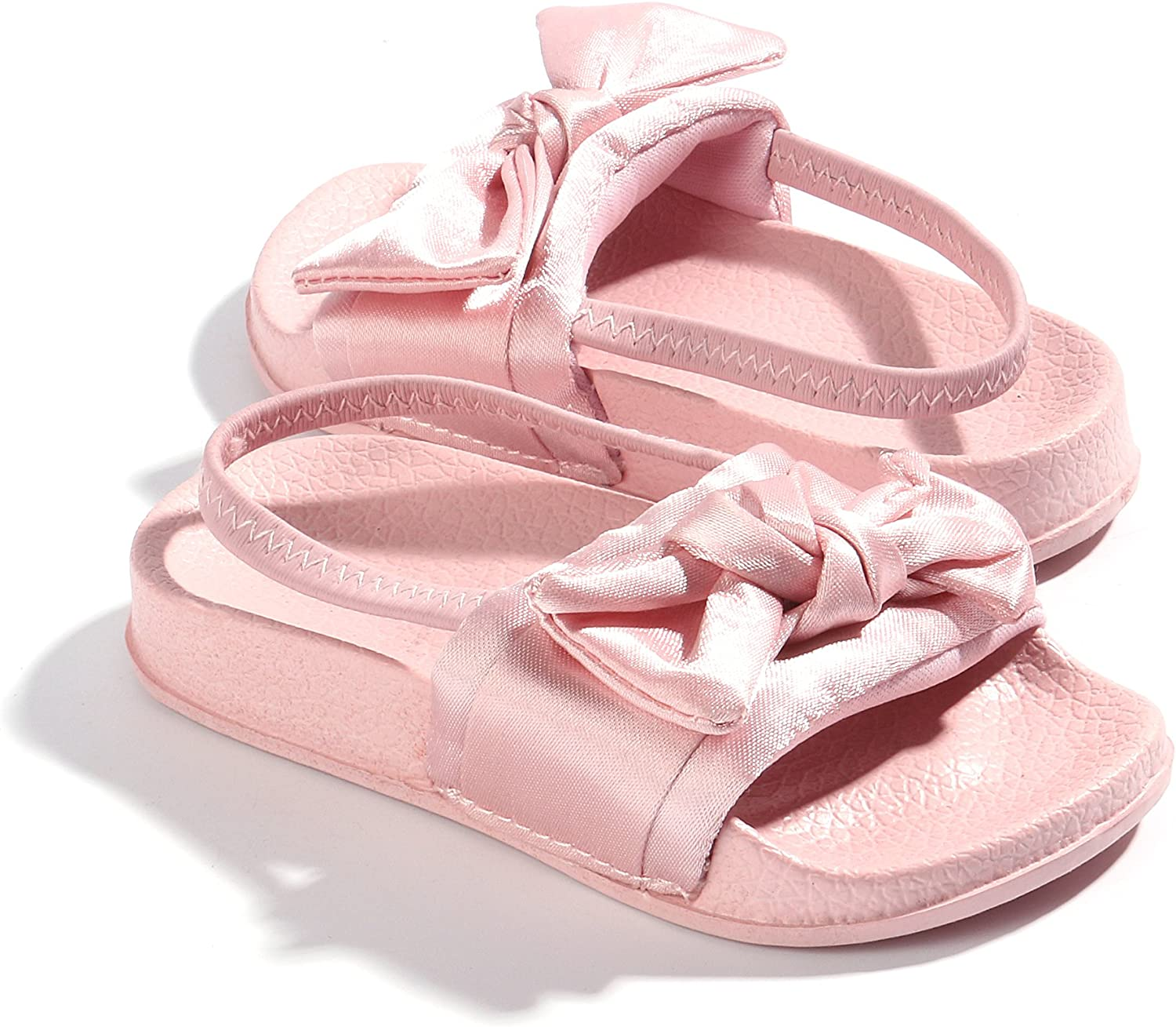 Faux Fur Slides with Elastic Back Strap Flats Shoes for Kids FITORY Girls Sandals Toddler