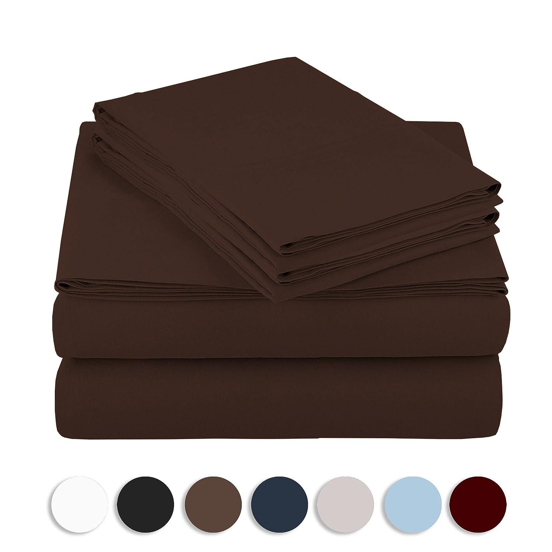 ホテルの高級ベッドシーツセット とてもソフトな寝具セット 1800シリーズ プラチナコレクション 深いポケット(16インチ) しわ/色あせ/シミ/磨耗への耐性 4点 クイーン ブラウン List B01MSR46NF クイーン|ブラウン ブラウン クイーン