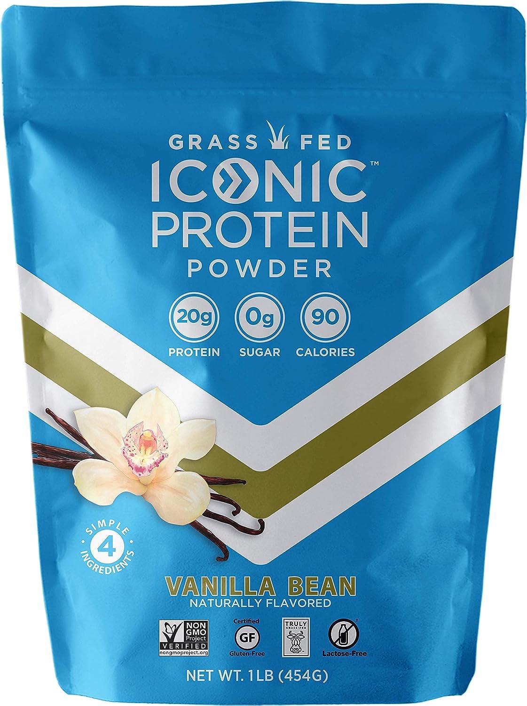 Iconic Protein Powder, Vanilla Bean, 1 Lb 18 Servings Sugar Free, Low Carb Protein Shake 20g Grass Fed Whey Protein Casein Protein Lactose Free, Gluten Free, Kosher, Non-GMO Keto Friendly