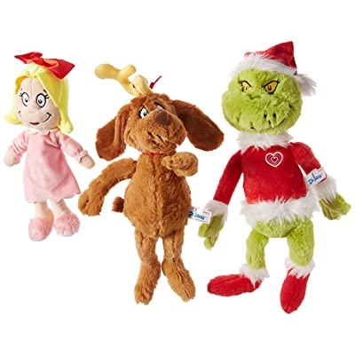 "Aurora World Dr. Seuss Cindy Lou Who 12"", Grinch Santa 19\"", & His Dog Max 18\"" Christmas Special Set of 3 Plush Toys, Multicolor: Toys & Games [5Bkhe0507166]"