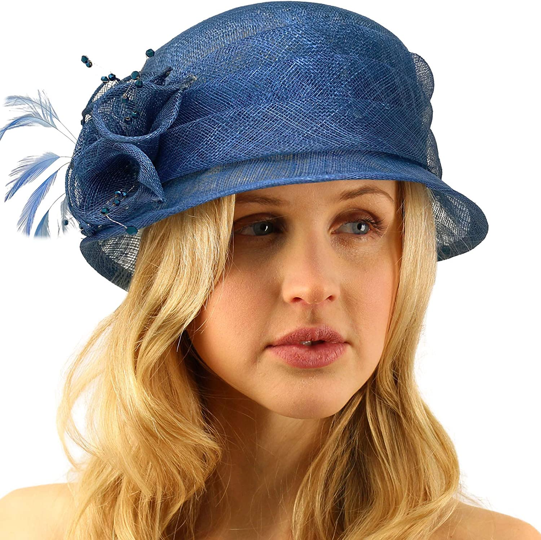 Summer Fancy 1920s Flapper Sinamay Trio Floral Cloche Bucket Church Hat