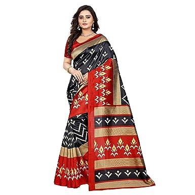 9234d475dbf Amazon.com  Jaanvi fashion Women s Art Silk Ikkat Patola Print Saree ...