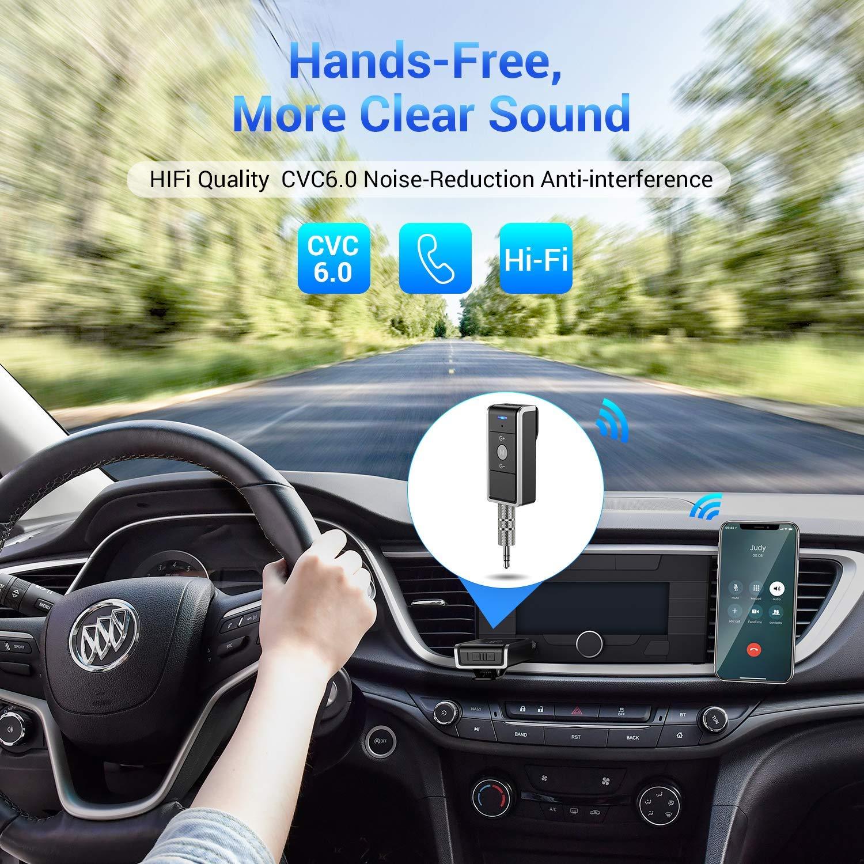 Bluetooth Empf/änger 4.2 Bluetooth Transmitter Bluetooth Wireless Audio Adapter Musik Empf/änger A2DP mit Freisprechen und 3,5mm Stereobuchse f/ür Haus und Auto AudioSystem MEHRWEG durch Ainope