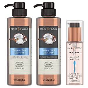 Hair Food Sulfate Free Nourishing Shampoo and Conditioner with Hair Oil, Coconut Milk & Chai Spice, Dye Free, Bundle