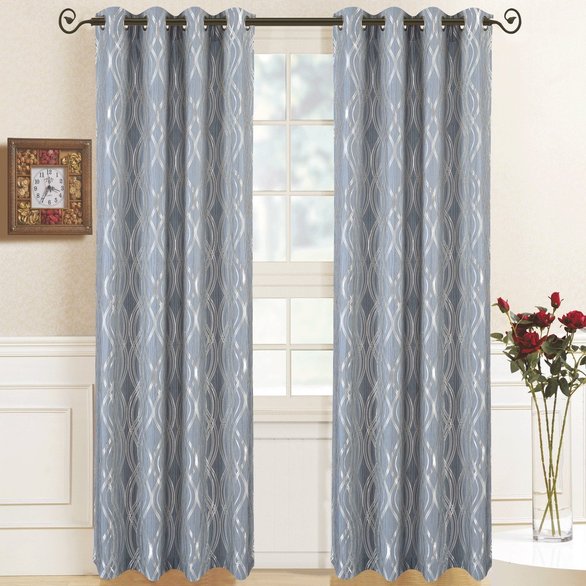 Regalia Blue Top Grommet Abstract Jacquard Textured Window Curtain Panel, Set of 2 Panels, 104x63 Inches Pair, by Royal Hotel