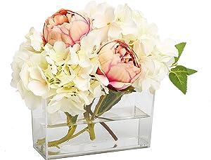 "Deco-Mate Square Vase Home Decorative Flower Acrylic Vase Wedding Party Table Centerpieces (6.5"" x 2.5"" x 4.5"") (6)"