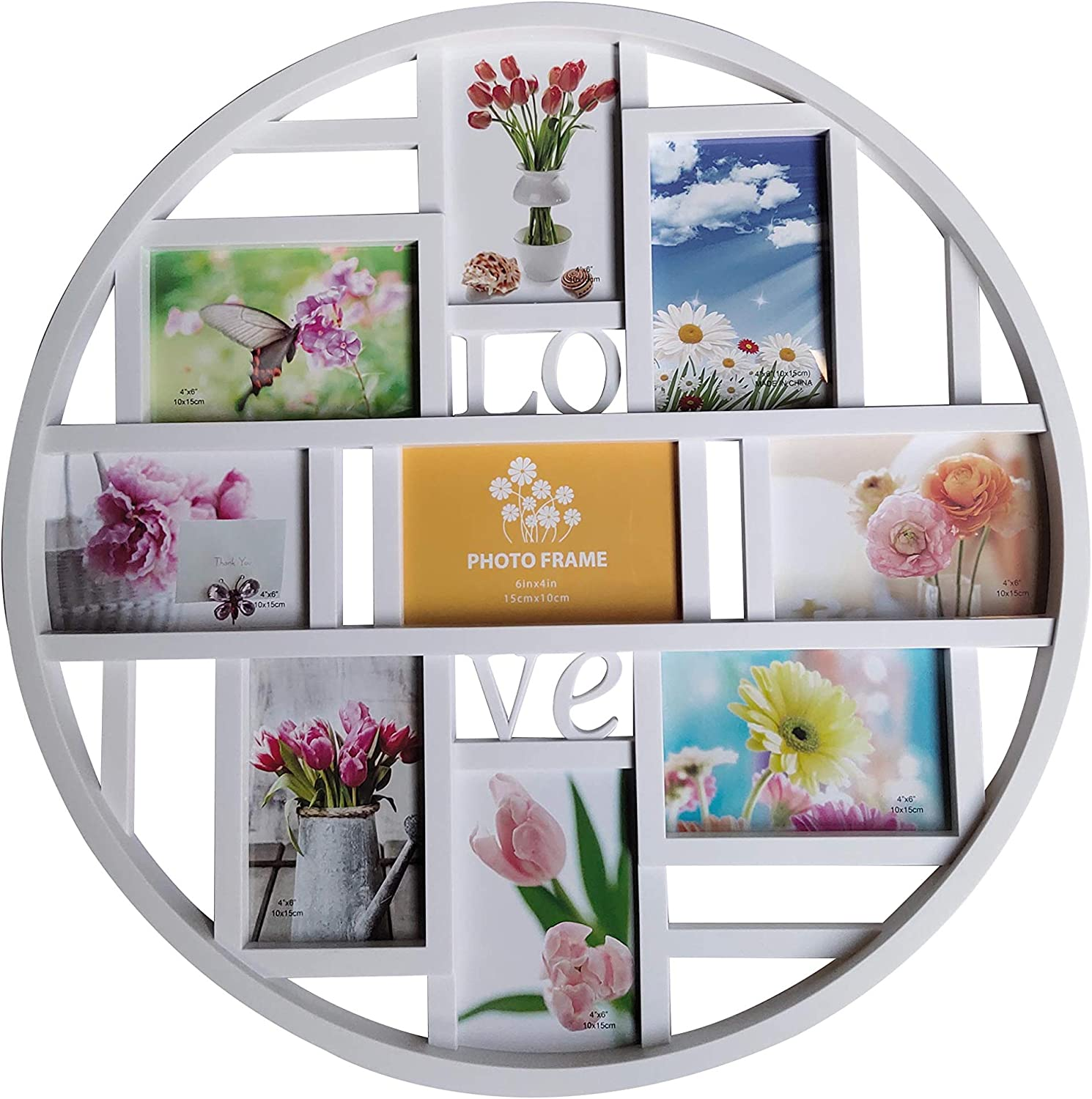 Mkun 4x6 Wall Collage Photo Frames- Round Circular Wall hanging Picture Collage Frame with LOVE word art, 9- Opening (White)