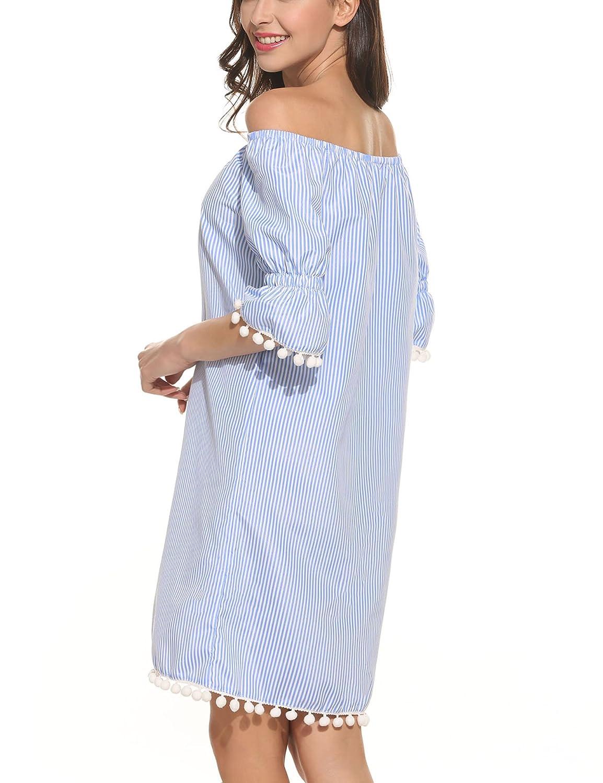 Meaneor Damen Schulterfrei Kleid Sommerkleider mit weiße Bommeln ...
