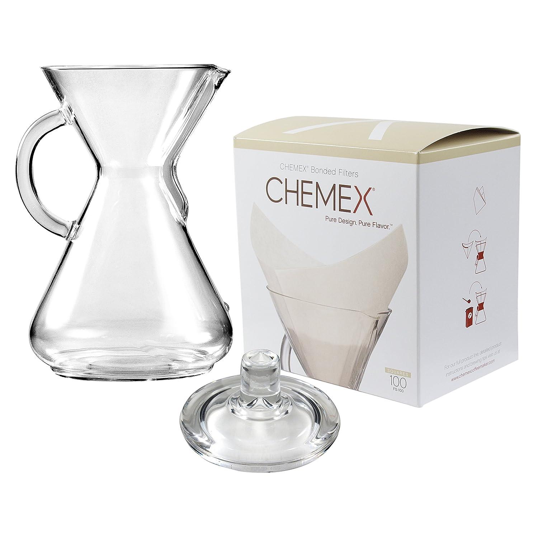 Chemex Cafetera de cristal 50 oz con tapa y 100 Count ...