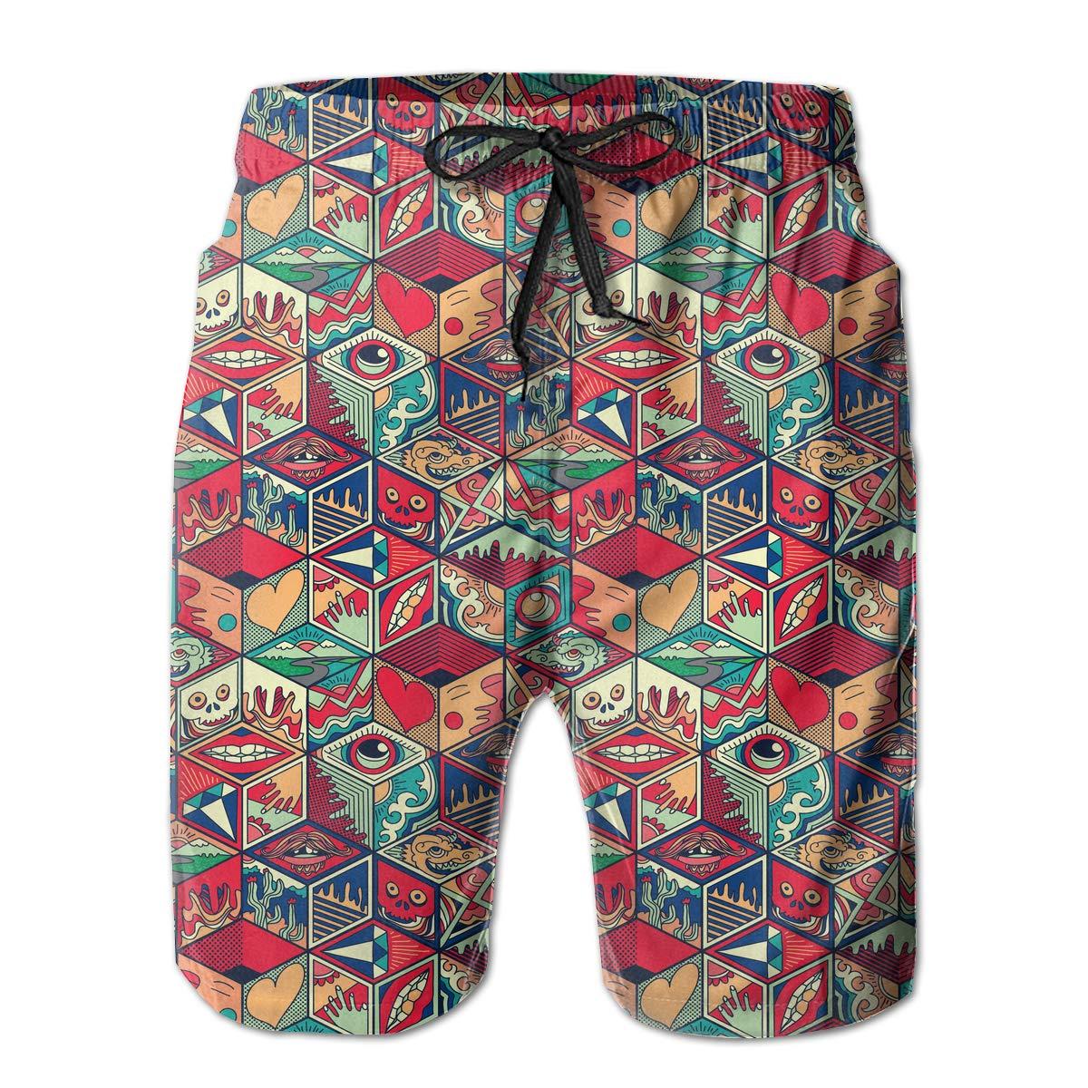 Shakumen Colorful Hexagon Tile Mens Beach Shorts Casual Running Trunks with 3 Pockets