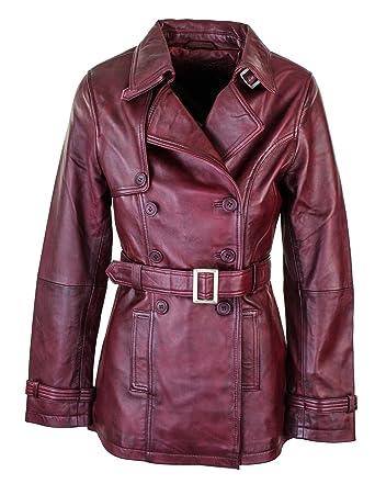 814ad4b0d Infinity Veste Motard Designer Manteau rétro Vintage Cuir supérieur  Bordeaux Femme