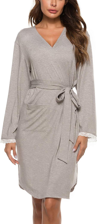 Vlazom Damen Morgenmantel V-Ausschnitt Bademantel Weich Kimono Nachtw/äsche mit Taschen und G/ürtel Saunamantel Schlafanzug S-XXL