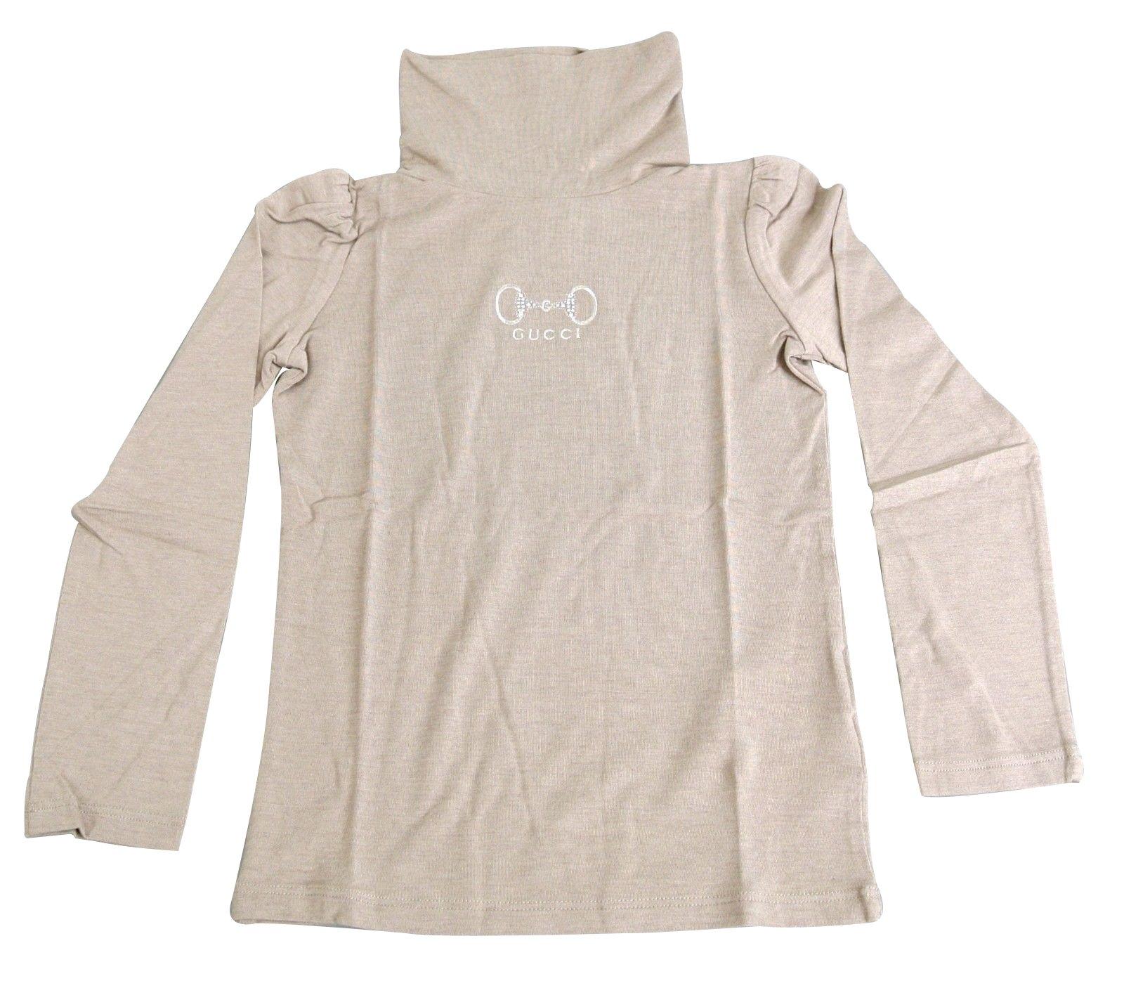 Gucci Beige Modal Cashmere Horsebit Turtle Neck T Shirt 265570 Size 4