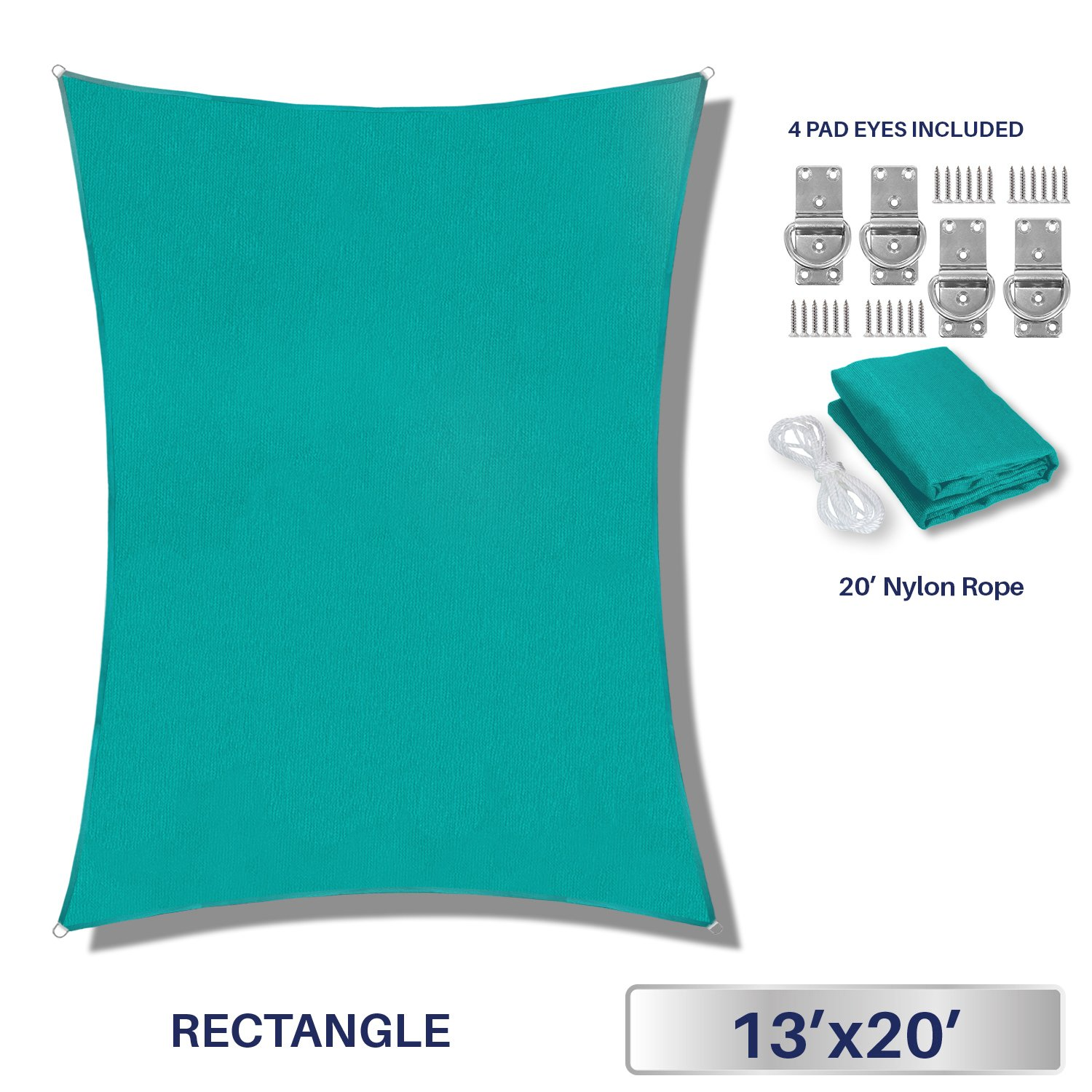Windscreen4less 13' x 20' Sun Shade Sail UV Block Fabric Canopy in Turquoise Rectangle Patio Garden Customized 3 Year Limited Warranty