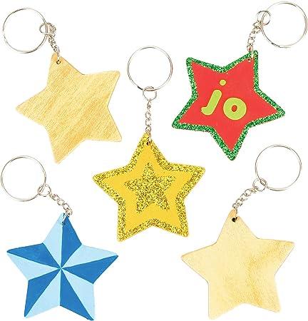 Baker Ross Llaveros de madera en forma de estrella, perfectos para decoraciones y manualidades infantiles (pack de 8).: Amazon.es: Hogar
