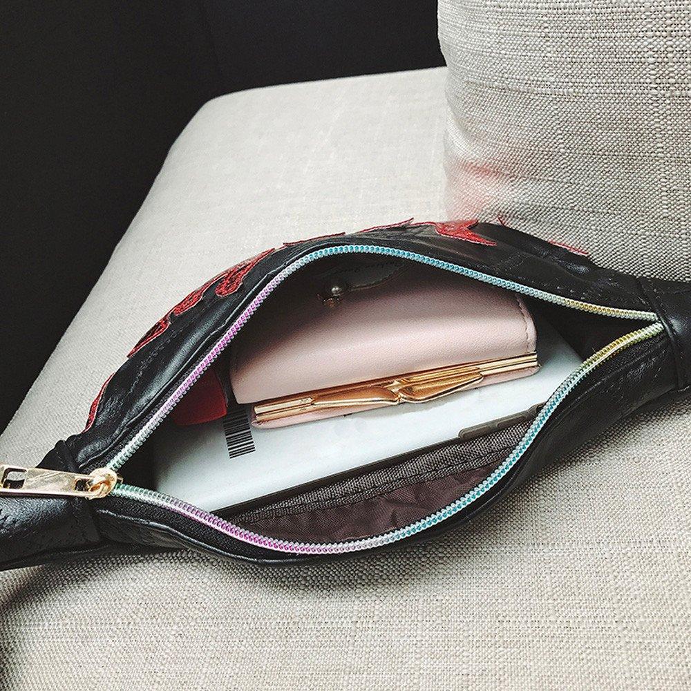 HeroStore Vintage Waist Bag Women Splice Hit Color Leather Messenger Shoulder Bag Chest Bag Black Fanny Pack for Women