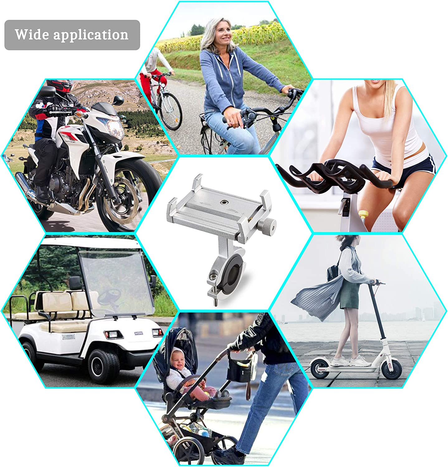 TOMALL Mountain Bike and Bicycle Aluminum Phone Mount Adjustable Anti Shake Metal Universal Bike Phone Mount Scooter Phone Holder Silver with Anti Shake Silicone Strap for Xiaomi M365