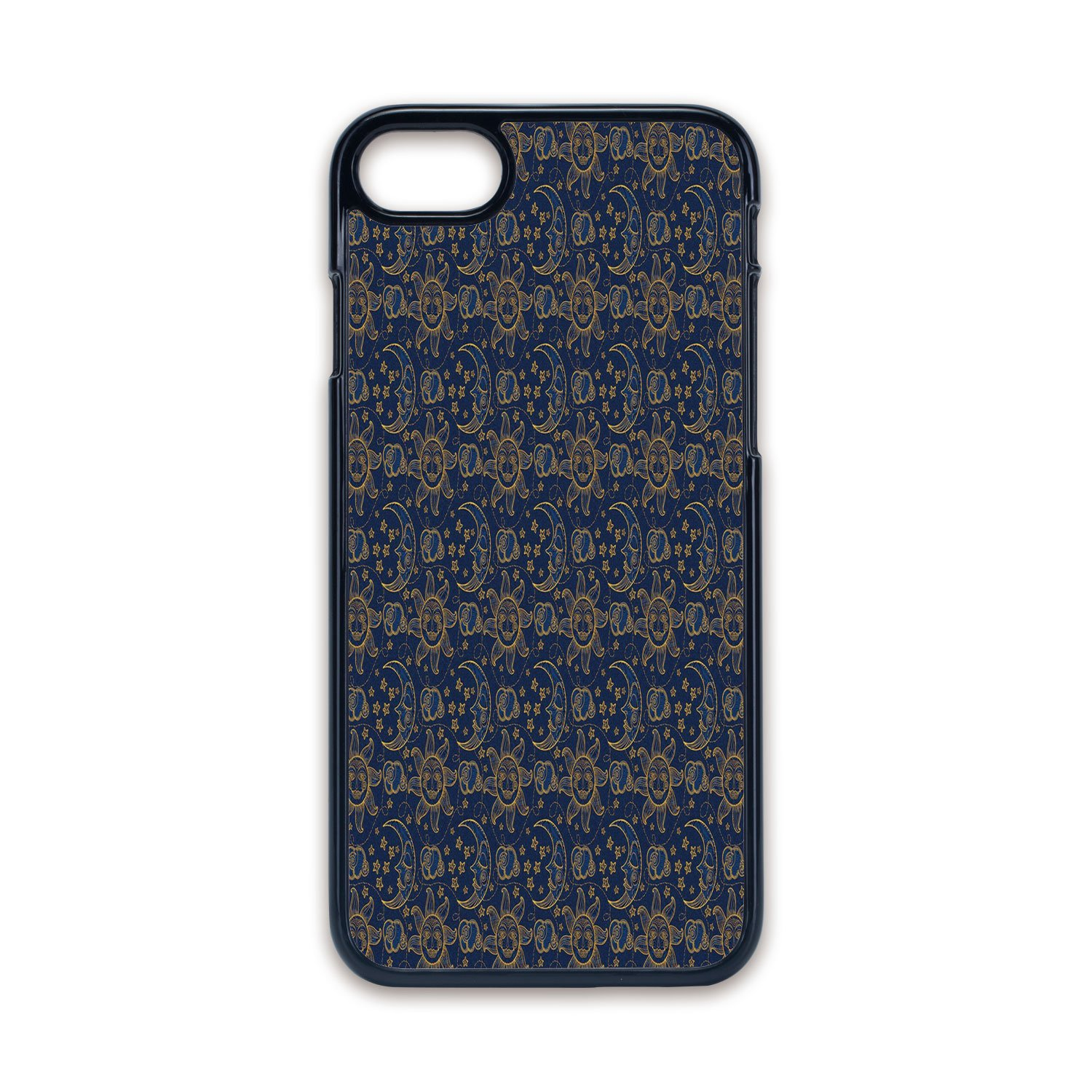 Amazon Com Phone Case Compatible With Iphone7 Iphone8 Black Edge Fashion Personality Sun Doodle Style Star Motif With Stripes And Curved Lines Vintage Hand Drawn Sky Decorative Navy Blue Marigold Hard Plastic Ph Cell Phones Accessories
