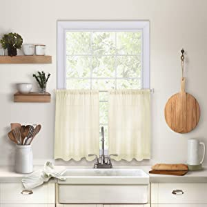 """Elrene Home Fashions Cameron Solid Hemstitched Rod Pocket Cafe/Kitchen Tier Window Curtain, 30"""" W x 36"""" L Each (Set of 2, Ivory, 2 Count"""