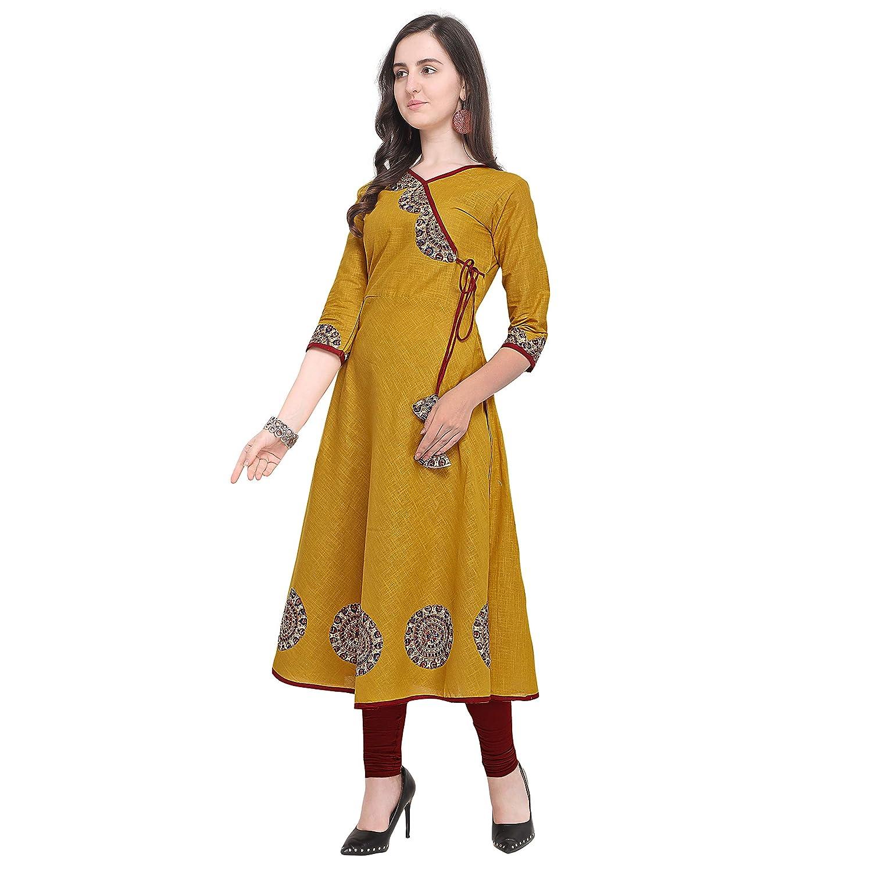 Women's cotton Slub Multi-colour Angarkha Style Long Anarkali Printed Kurti