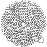 Cast Iron Cleaner, 316 Stainless Steel Scrubber with Hanging Ring, Round 7X7 in Cleaner for Cast Iron Skillet, Wok, Pan
