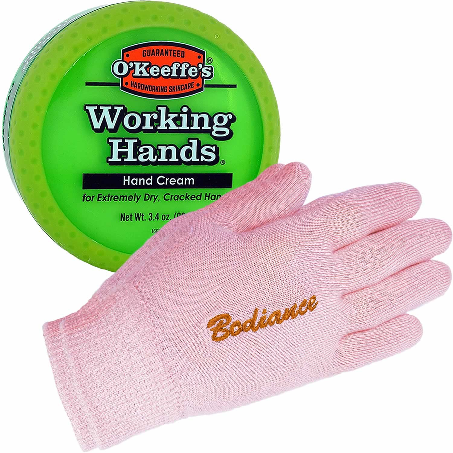 Hand Cream for Dry Cracked Hands Repair Gloves Bundle - Working Hands Cream O'Keeffe's, Odorless, Non Greasy, 3.2 oz, Dry Hand Treatment Gel Gloves, Pink, Unscented, 1 pair Bodiance