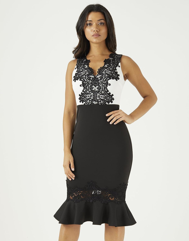 7e1fa00f8090 LIPSY Womens V Neck Lace Placement Bodycon Dress - Black -  Amazon ...