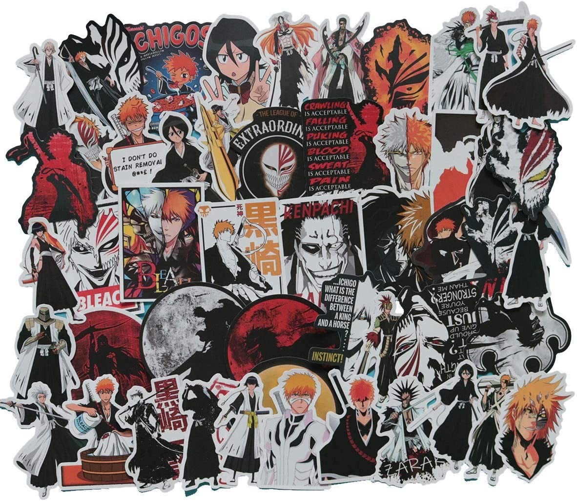 Bleach Anime Laptop Stickers Waterproof Skateboard Snowboard Car Bicycle Luggage Decal 50pcs Pack (Bleach)
