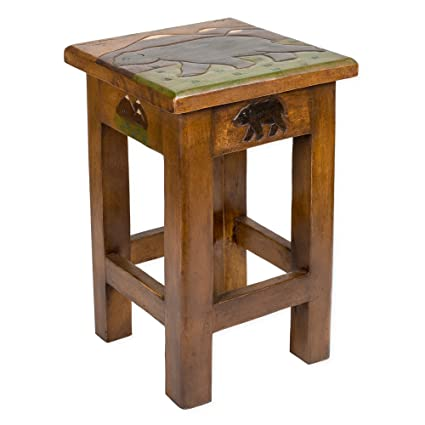 Amazon.com: bear carved acacia hardwood 18 inch end table: kitchen