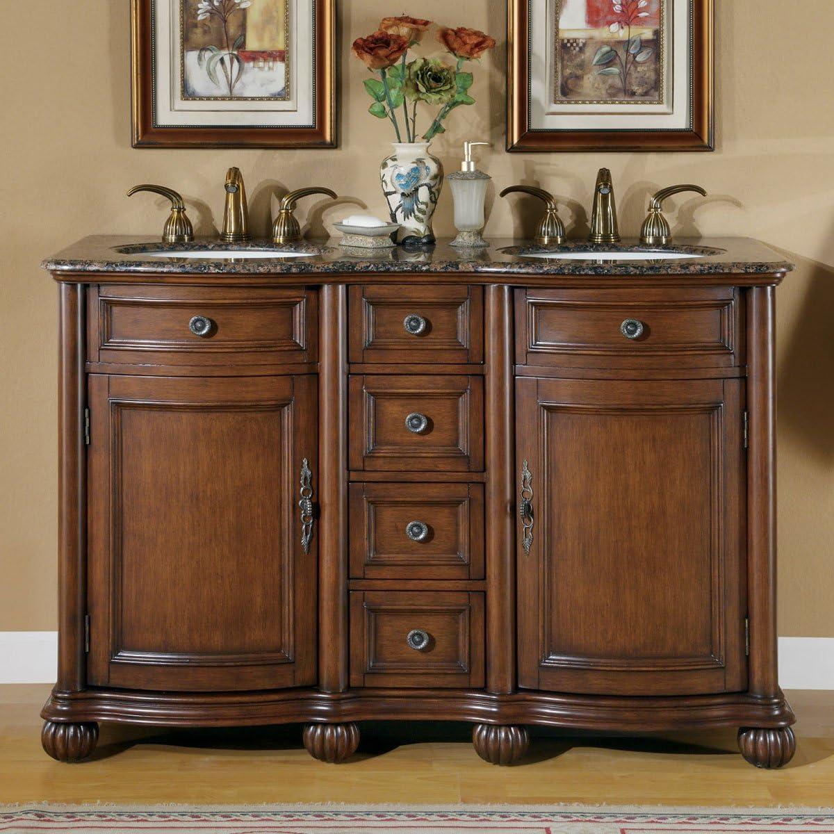 Silkroad Exclusive LTP-0180-BB-UIC-52 Baltic Brown Granite Top Double Sink Bathroom Vanity with Cabinet, 52 , Medium Wood