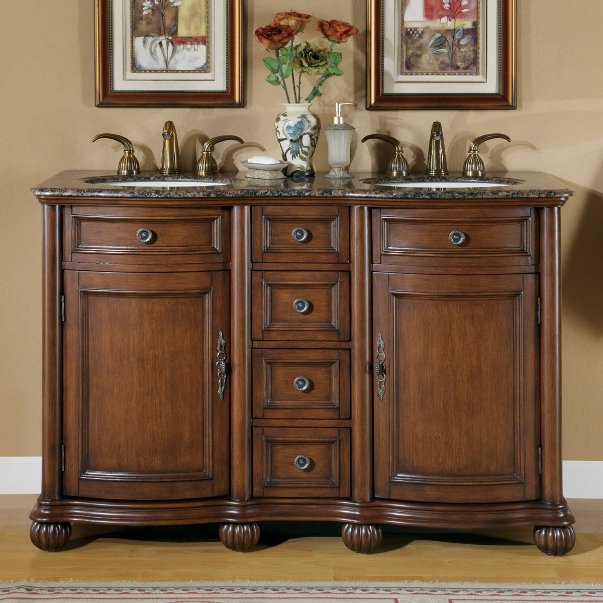 Silkroad Exclusive Baltic Brown Granite Top Double Sink Bathroom Vanity with Cabinet, 52-Inch