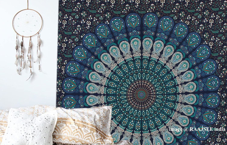 Tapices de pared color azul tipo mandala de doble tamaño, diseño de ...