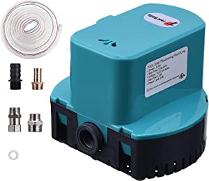 Tool Daily 1200 GPH Automatic Swimming Pool Cover Pump, Pool Water Removal Pump 110 V with 4 Adapters 16ft Drainage Hose & 25 Feet Extra Long Power Cord Blue