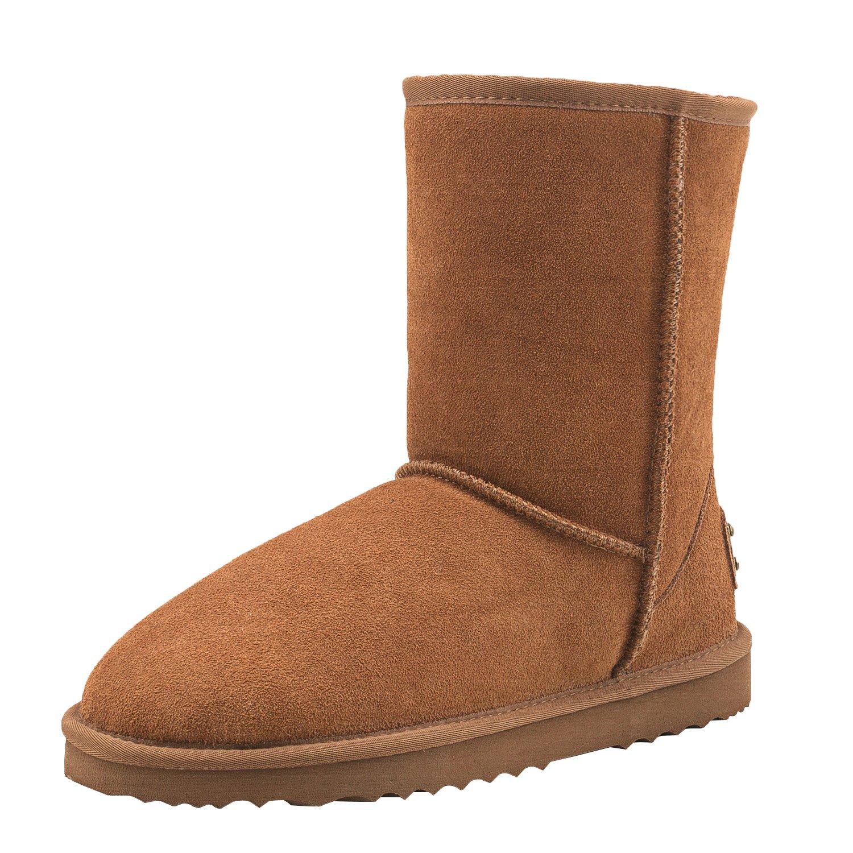 Castagno Shenduo Sautope Uomo Invernali - Stivali da neve classeico A gamba corta Caldo D4927
