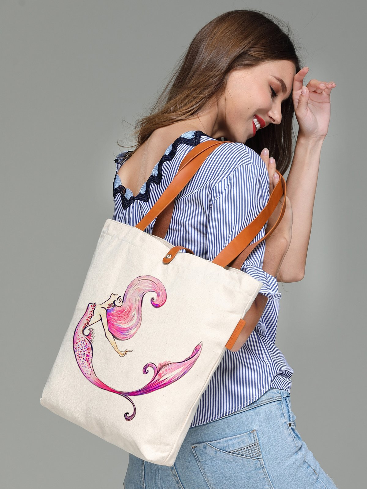 So'each Women's Colourful Mermaid Graphic Canvas Tote Shopper Shoulder Bag by So'each (Image #4)