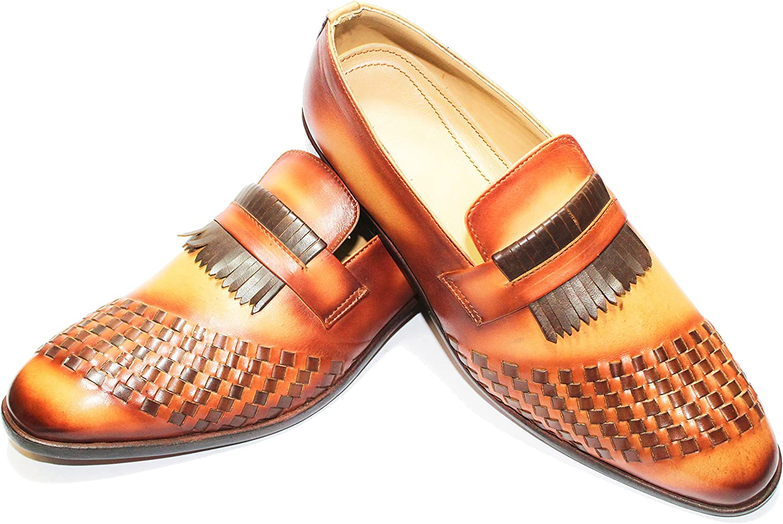 Hand Made Royal Recardo Hi-End Men Shoe Leather Light Brown Patina Finish Chex Design Lofer